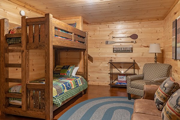 Bunk room at Relaxation Ridge, a 2 bedroom cabin rental located in Pigeon Forge