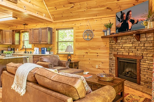 Living room amenities at Relaxation Ridge, a 2 bedroom cabin rental located in Pigeon Forge
