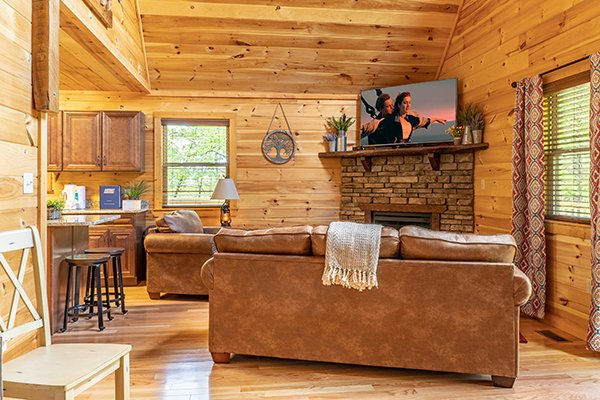 Sofa and chair near a fireplace & TV in the living room at Relaxation Ridge, a 2 bedroom cabin rental located in Pigeon Forge