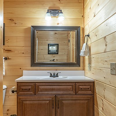 Bathroom vanity at Relaxation Ridge, a 2 bedroom cabin rental located in Pigeon Forge