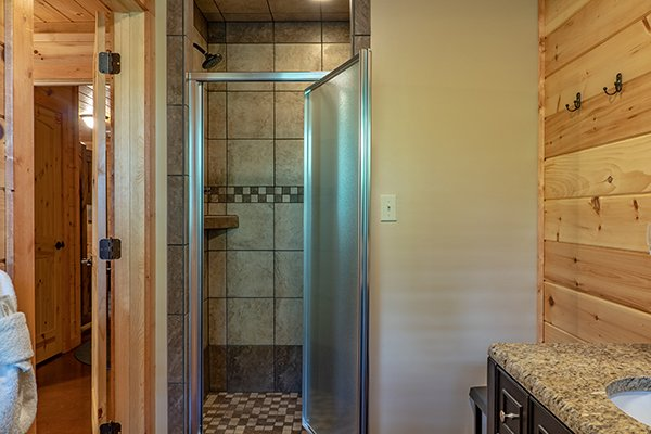 Shower stall at Relaxation Ridge, a 2 bedroom cabin rental located in Pigeon Forge