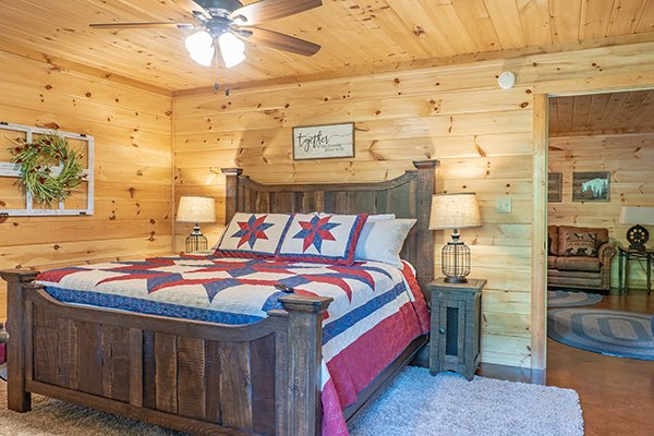 Large bed at Relaxation Ridge, a 2 bedroom cabin rental located in Pigeon Forge