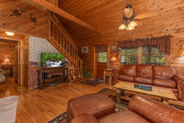 TV in the living room at Yes, Deer, a 2 bedroom cabin rental located in Pigeon Forge