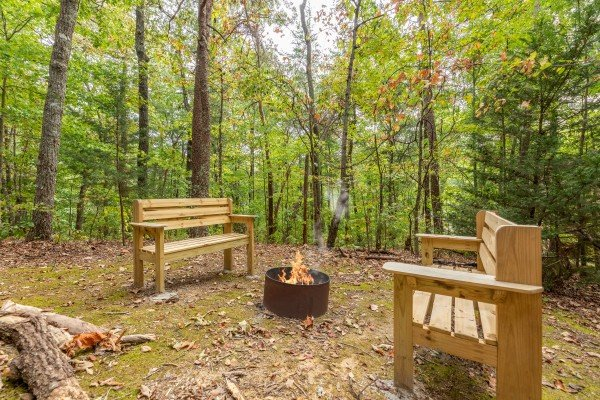 Firepit in the yard at Yes, Deer, a 2 bedroom cabin rental located in Pigeon Forge
