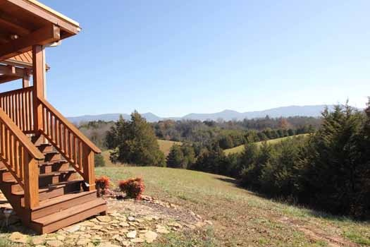 views of the smoky mountains from cedar creeks a 2 bedroom cabin rental located in douglas lake