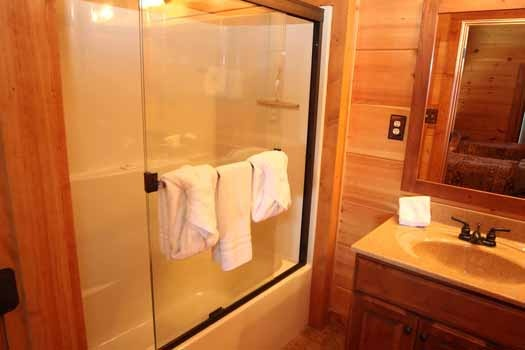 tub and shower combination at cedar creeks a 2 bedroom cabin rental located in douglas lake