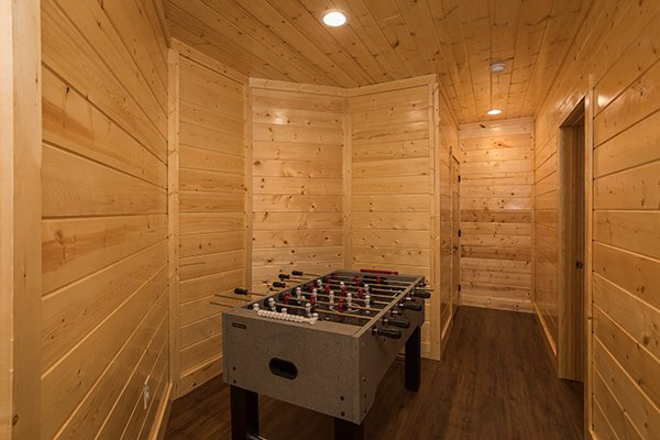 Foosball table at Splash Mountain Lodge a 4 bedroom cabin rental located in Gatlinburg