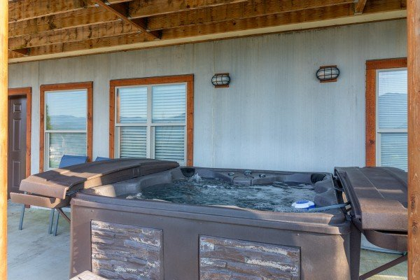 Hot tub at Splash Mountain Lodge, a 4 bedroom cabin rental located in Gatlinburg