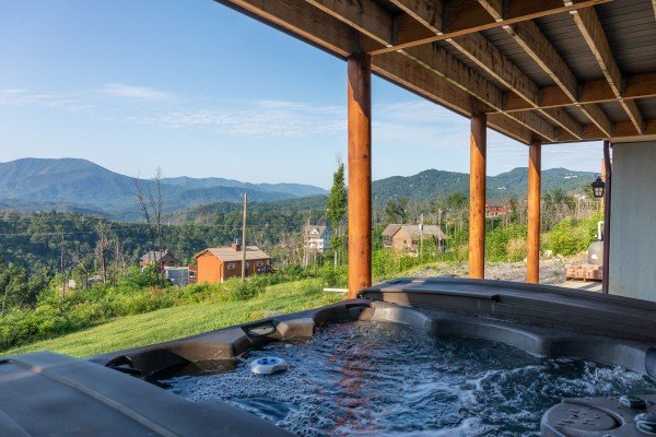 Mountain view from the hot tub at Splash Mountain Lodge, a 4 bedroom cabin rental located in Gatlinburg