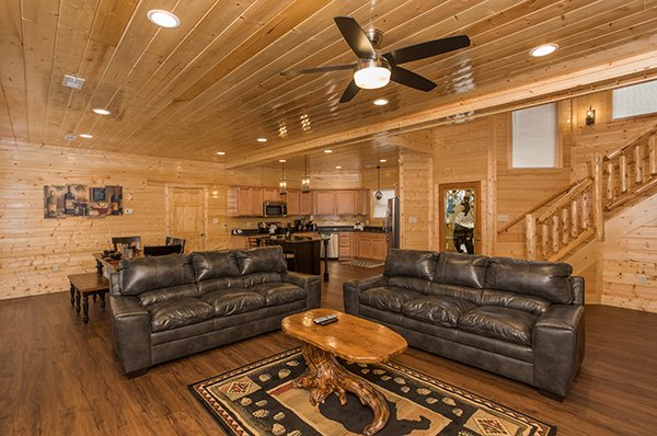 Living room with two sofas at Splash Mountain Lodge a 4 bedroom cabin rental located in Gatlinburg