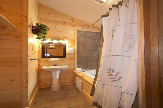 En suite bath with jacuzzi tub at Raccoon's Rest, a 2 bedroom cabin rental located in Pigeon Forge