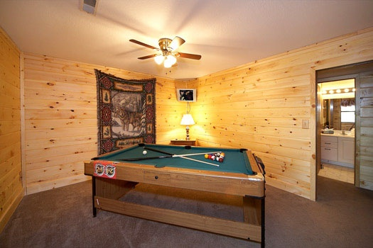 Game room with pool table at Raccoon's Rest, a 2 bedroom cabin rental located in Pigeon Forge