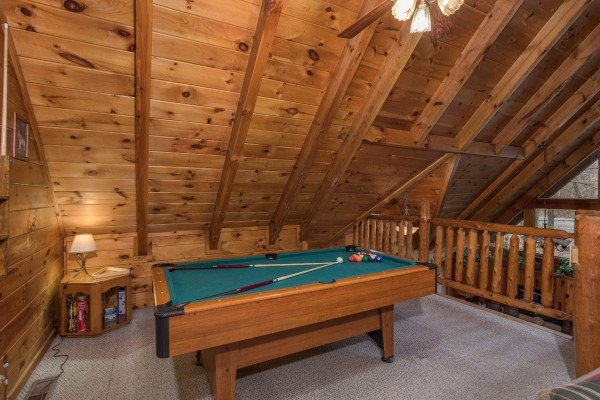 Pool table in the loft space at Gettin' Lucky, a 1-bedroom cabin rental located in Gatlinburg