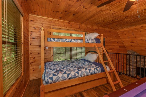 Bunk bed in the game loft at Time to Pause, a 2 bedroom cabin rental located in Pigeon Forge