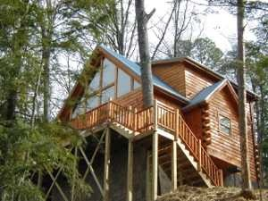 Exterior front entrance at My Blue Heaven, a 1 bedroom cabin rental located in Gatlinburg
