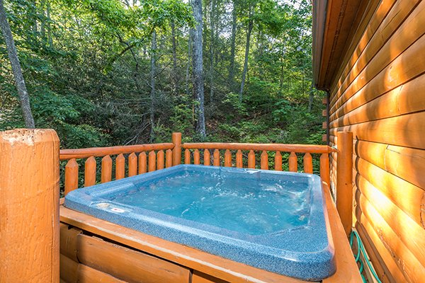 Hot tub on the deck at My Blue Heaven, a 1 bedroom cabin rental located in Gatlinburg