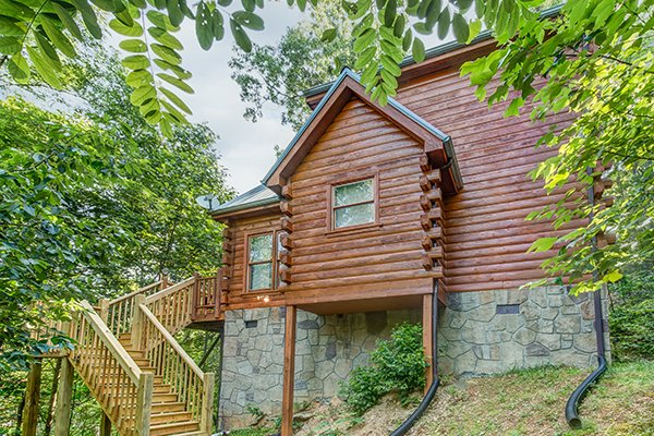 Cabin side exterior at My Blue Heaven, a 1 bedroom cabin rental located in Gatlinburg