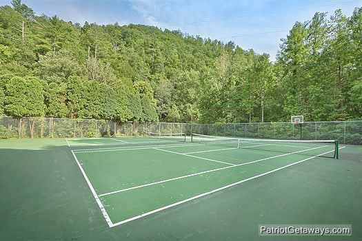 Tennis court at Shagbark Resort is available for guests at Rocky Top Lodge, a 3 bedroom cabin rental located in Pigeon Forge