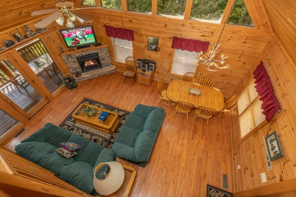 Looking down at the living room at Cub's Crossing, a 3 bedroom cabin rental located in Gatlinburg