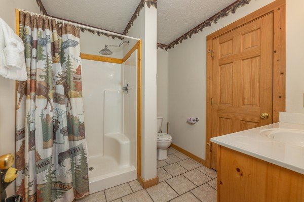 Bathroom with a walk in shower at Cub's Crossing, a 3 bedroom cabin rental located in Gatlinburg