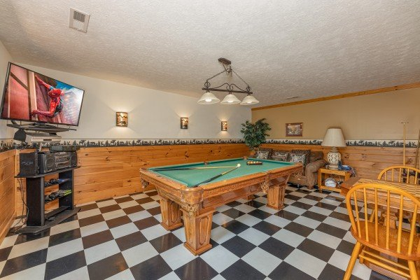 Pool table at Cub's Crossing, a 3 bedroom cabin rental located in Gatlinburg