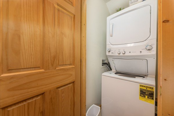 Stacked washer and dryer at Cub's Crossing, a 3 bedroom cabin rental located in Gatlinburg