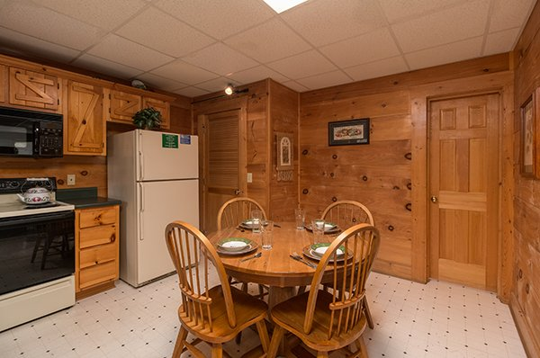 Dining space in the kitchen at Little Moon, a 1 bedroom cabin rental located in Pigeon Forge