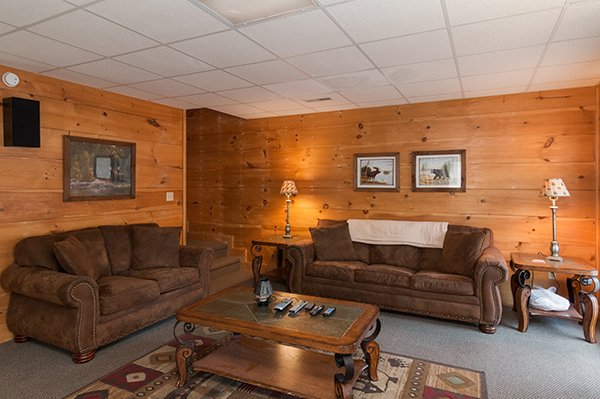 Living room with a sleeper sofa and a loveseat at Little Moon, a 1 bedroom cabin rental located in Pigeon Forge