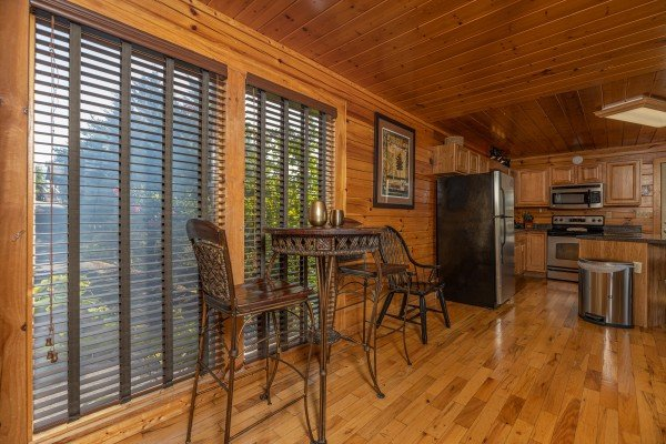 Bistro set for 2 at Bear O'clock Somewhere, a 5 bedroom cabin rental located in Pigeon Forge
