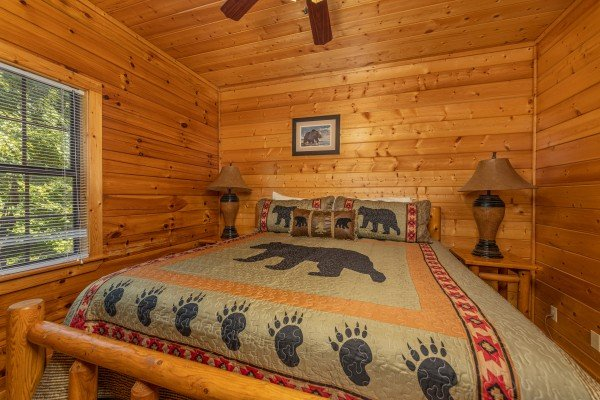 King bed, two night stands, two lamps at Bear O'clock Somewhere, a 5 bedroom cabin rental located in Pigeon Forge