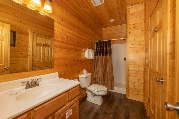 Shower at Bear O'clock Somewhere, a 5 bedroom cabin rental located in Pigeon Forge