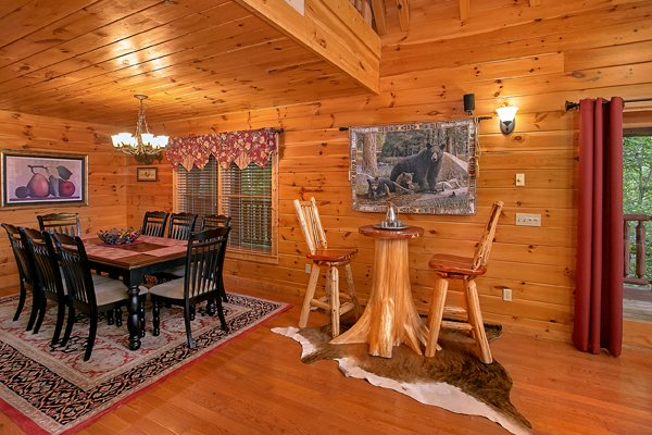 High top table for two near the dining table at Mountain Wonderland, a 3 bedroom cabin rental located in Pigeon Forge