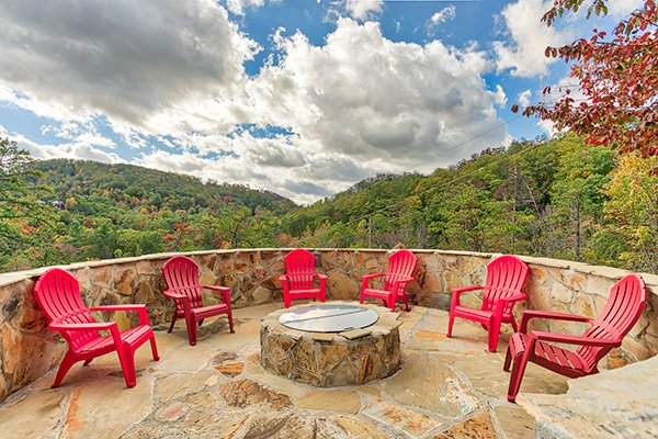 Fire pit at Mountain Wonderland, a 3 bedroom cabin rental located in Pigeon Forge