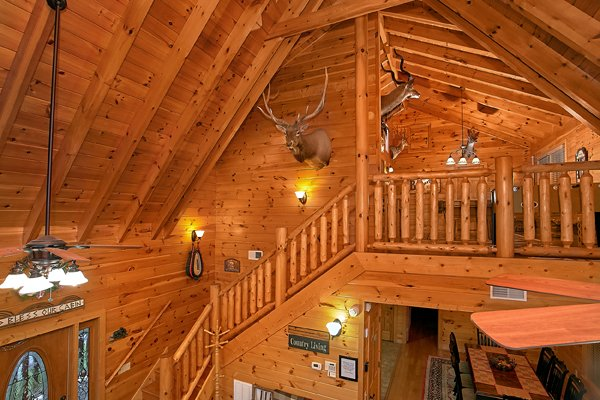 Looking up at the loft space at Mountain Wonderland, a 3 bedroom cabin rental located in Pigeon Forge