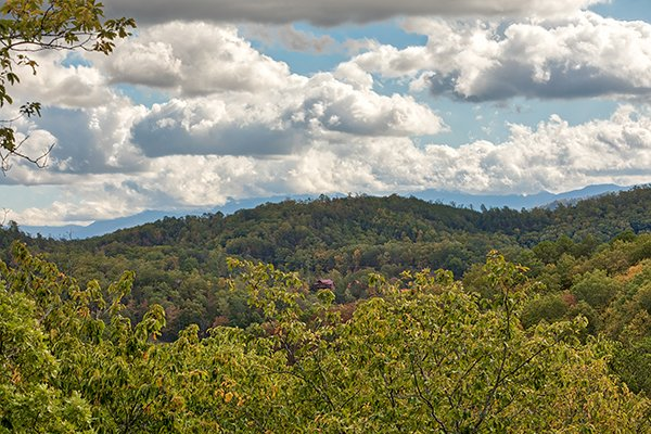 Mountain views from the deck at Mountain Wonderland, a 3 bedroom cabin rental located in Pigeon Forge
