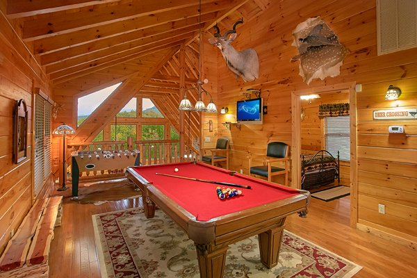 Pool table in the game loft at Mountain Wonderland, a 3 bedroom cabin rental located in Pigeon Forge
