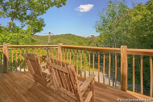 Adirondack chairs overlooking the view at Picture Perfect Hideaway, a 2 bedroom cabin rental located in Pigeon Forge
