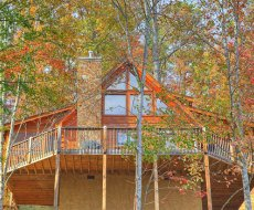 looking up at the back of picture perfect hideaway a 2 bedroom cabin rental located in pigeon forge