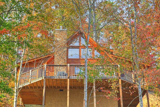 Looking up at the back of Picture Perfect Hideaway, a 2 bedroom cabin rental located in Pigeon Forge