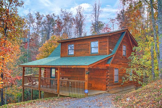Front door exterior view at Picture Perfect Hideaway, a 2 bedroom cabin rental located in Pigeon Forge