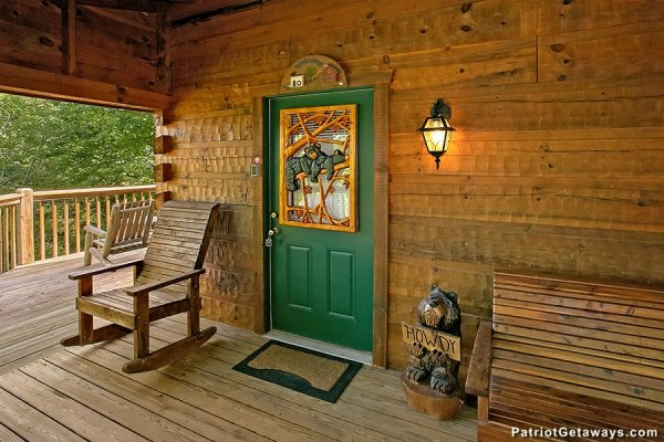 Front door at Picture Perfect Hideaway, a 2 bedroom cabin rental located in Pigeon Forge