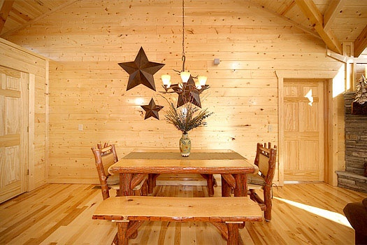 dining table with bench seats off the kitchen at elk ridge lodge a 4 bedroom cabin rental located in gatlinburg
