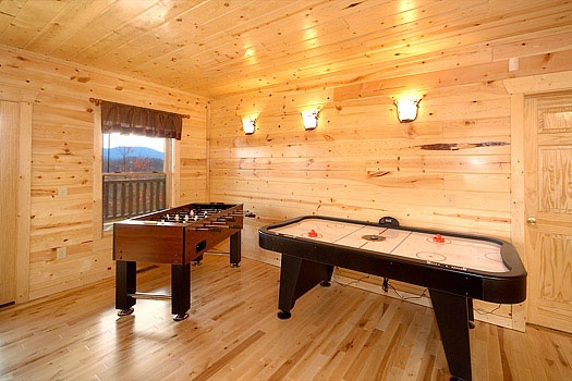 game room foosball and air hockey tables at elk ridge lodge a 4 bedroom cabin rental located in gatlinburg