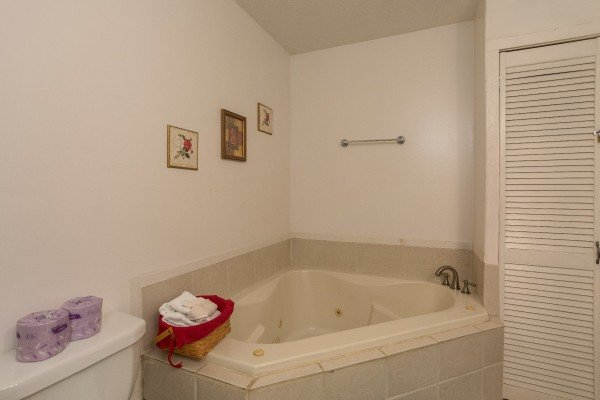 Jacuzzi in the bathroom at Bear it All, a 2-bedroom cabin rental located in Sevierville