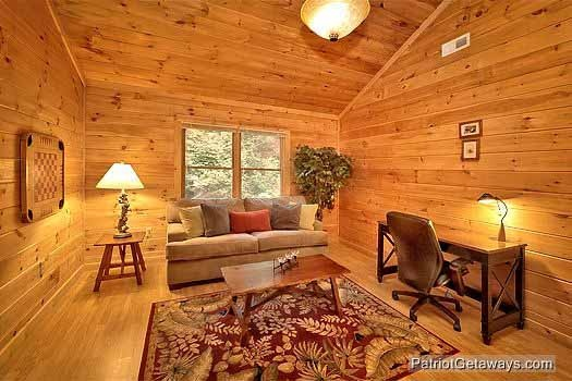loft with sofa bed and desk at bear creek a 4 bedroom cabin rental located in pigeon forge