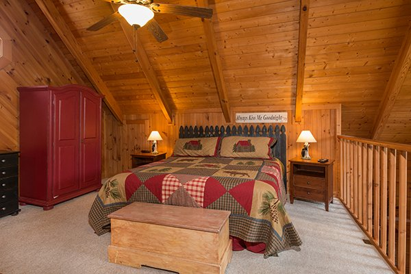 Loft bedroom at Bear Cavern, a 1-bedroom cabin rental located in Pigeon Forge