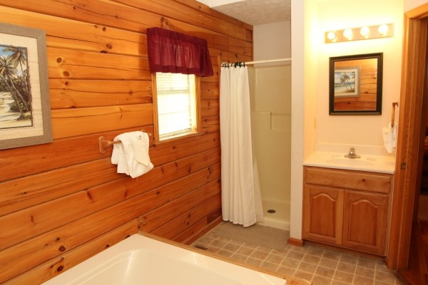 bathroom at just hanging out a 3 bedroom cabin rental located in pigeon forge