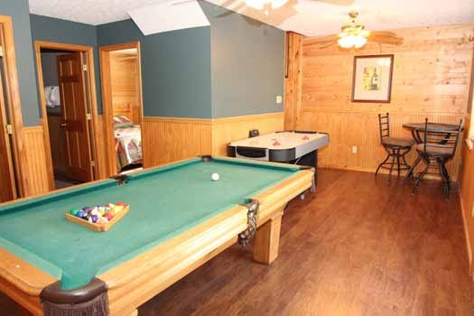 game room at just hanging out a 3 bedroom cabin rental located in pigeon forge