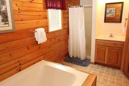 shower and jacuzzi tub in main level bathroom at just hanging out a 3 bedroom cabin rental located in pigeon forge