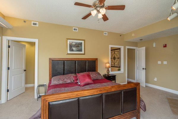 Bedroom with a king bed at Heart of Gatlinburg, a 2 bedroom cabin rental located in Gatlinburg